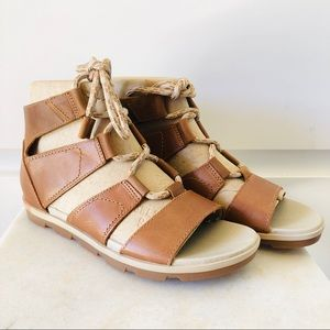 NIB Sorel Torpeda Lace Up Gladiator Sandal Camel